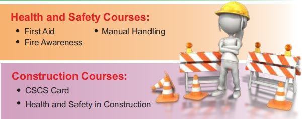 Construction courses like CSCS Card courses , manual handling , health and safety in London